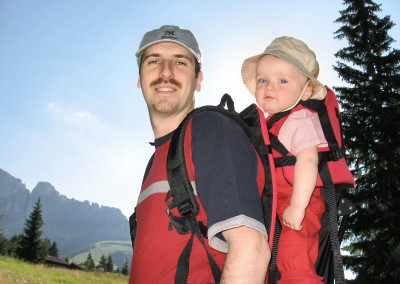 zaino portabambino per la montagna, utile... ma che fatica!