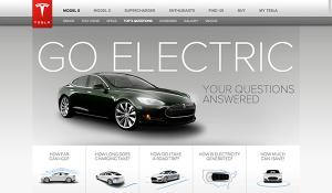 pagina GOELECTRIC di Tesla motors, un esempio di utilizzo sensato dell'effetto parallasse